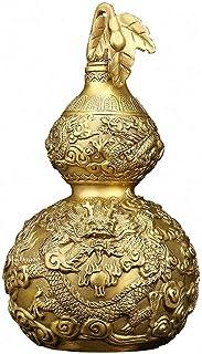 فنغ شوي براس حظا سعيدا القرع للثروة تمثال من النحاس تحصيلها النحت سحر تميمة ، يرمز إلى ازدهار الأسرة والسعادة