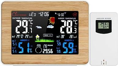KKmoon Estação meteorológica LCD colorida sem fio despertador Termômetro externo interno Higrômetro Barômetro com exibição...