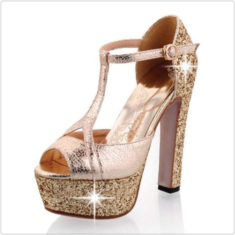 Yyixianma High Heel Sandals Shine Glitter Platform Ankle Strap Spike Sandals Women shoes