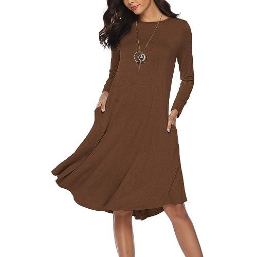 a84e8a9c497a MYTHFAYE Women s Plain Long Sleeve Pockets Pleated Loose Midi Dress Plain  Swing Casual Dresses