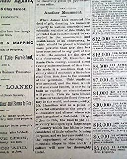 James LICK OBSERVATORY Mount Hamilton California Founding 1876 Denver Newspaper WELDON & LEONARD'S REAL ESTATE CIRCULAR & PRICE LIST, San Francisc.
