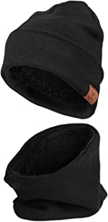 Winter Beanie Hat for Men and Women, Cold Weather Windproof Thermal Knit Hat Lined with Fleece, for Running, Cycling and Ski