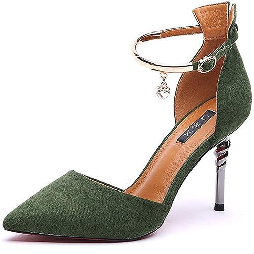 DKFJKI Chaussures pour Femmes Chaussures Simples Talons Aiguilles Européenne Mode Utilisation Quotidienne Boîte de Nuit Femmes Métal Strass