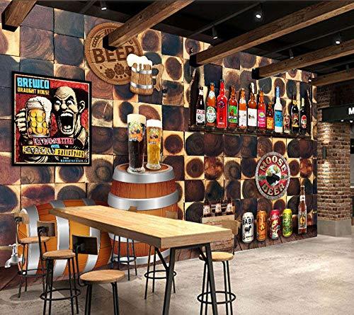 XQFZXQ Wandgemälde Bier Elemente Restaurant Bar Cafe Selbstklebend PVC 3D Wandgemälde Fernseher Hintergrund Wohnbereich Kinderzimmer Thema Hintergrund Junge Mädchen Karikatur Film Zei(B)400x(H)280cm