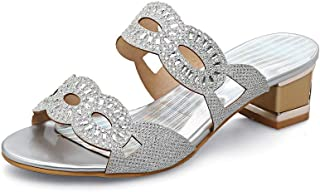 BalaMasa Womens Studded Dance-Ballroom Casual Urethane Slides Sandals ASL05716