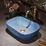 Slivy Cielo Estrellado Azul baño Fregadero de la vanidad del Recipiente Encima del Contador de cerámica de Porcelana Lavabo del Arte de 16 Pulgadas de la encimera for Lavabo mediterráneos Cuencos