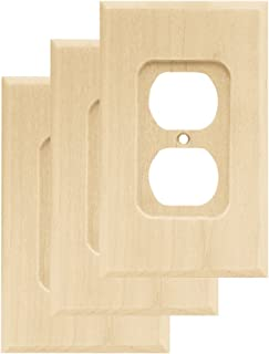 Franklin Brass W10397V-UN-C Wood Square Single Duplex Outlet Wall Switch Plate/Cover, 3 pack, Unfinished