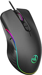 TKOOFN RGB Gaming Mouse, 4 DPI (1000/1600/3200/6400) Optical LED Mouse Wired with 7 Buttons RGB Marquee LED, Ideal for Lap...