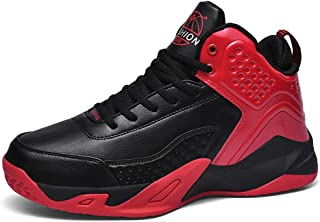 Basketball Shoes, High-Top Lightweight Basketball Boots Trainer Sneakers Breathable Outdoor Athletic Running Jogging Shoes Non-Slip Lace Up for Women Men,Red,48