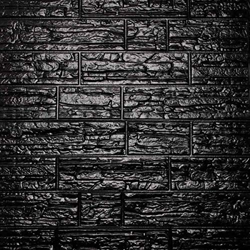 Cozylkx 3D Self Adhesive Foam Wall Panels, Covers 5.7 sq feet, Peel & Stick Brick Stone Wallpaper Stickers for Wall Decoration, Black