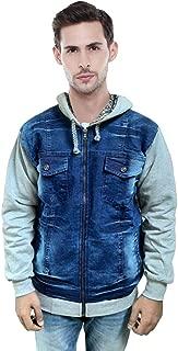Zeki Men's Winter Warm Hooded Denim Jacket (Grey)