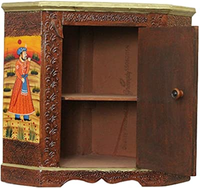 Apka Mart The Online Shop Hand Crafted Wooden Almirah Cabinet (30-inch Height, Multicolour)