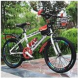 Bicicleta De Montaña para Niños, 22 Pulgadas, Marco De Acero De Alto Carbono Engrosado con Marco De Asiento Trasero + Canasta, Botella De Agua Y Bolsa,Rojo
