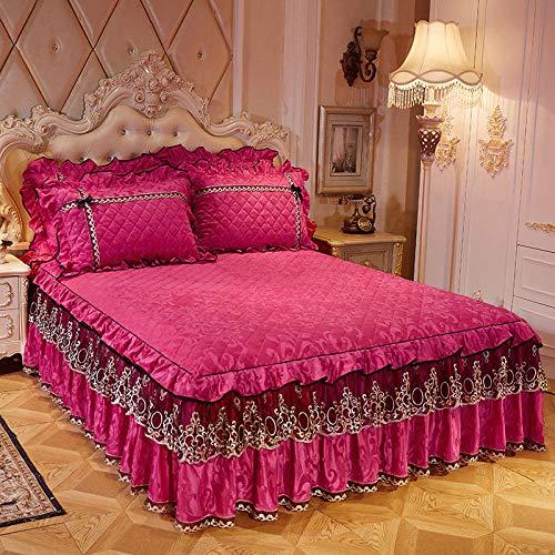 XNSY colchas Cama 90 Juveniles Lisas Falda de Cama de Encaje de Terciopelo cálido y Grueso cubrecama de Simmons-Rosa roja A_Falda de Cama de 180cmx220cm