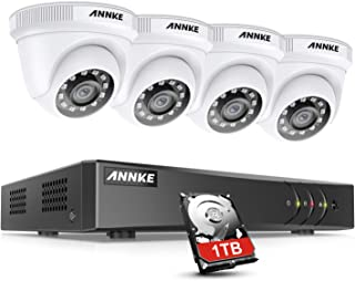 ANNKE Kit de Seguridad 8CH 5MP Lite DVR con 1TB Disco Duro de Videovigilancia(Instalado) CCTV 4 Sistema Cámara de Vigilancia 1080P IP66 Impermeable Visión Nocturna No-Ruido - 1TB HDD