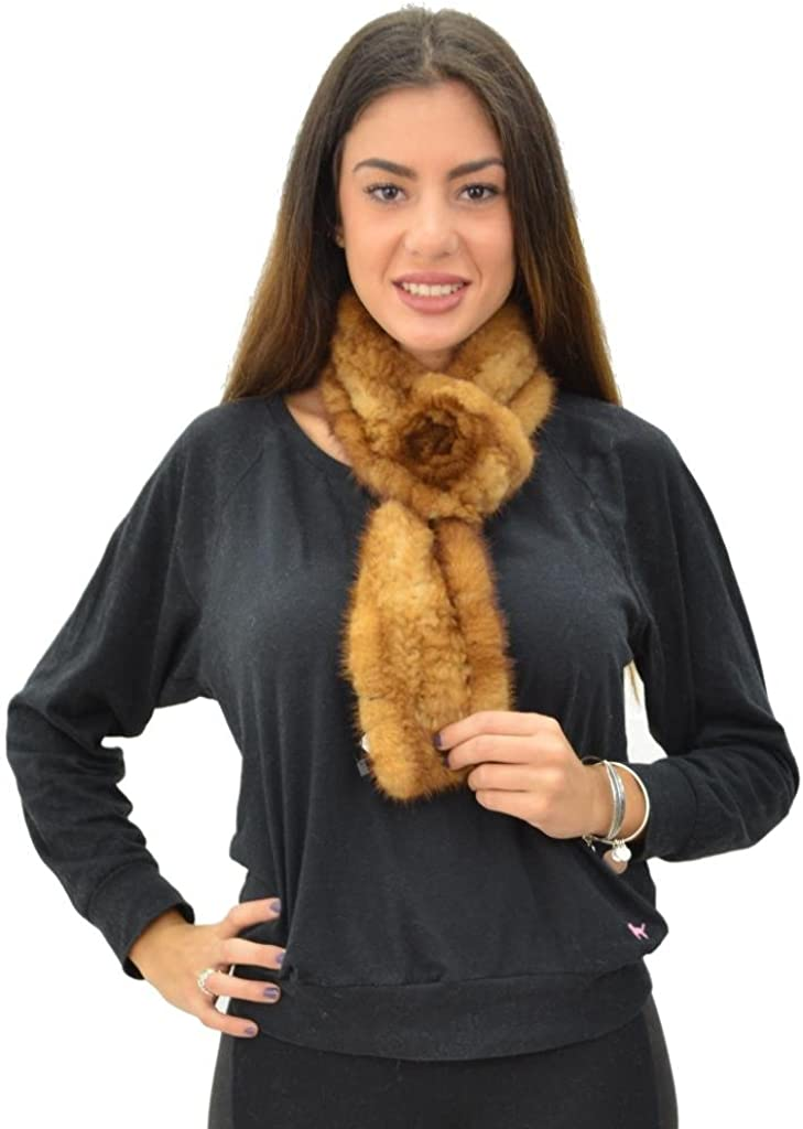 Mink Fur Scarf with Rosette - Whiskey
