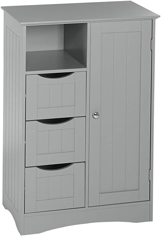 RiverRidge Ashland Collection 1 Door 3 Drawer Floor Cabinet Gray