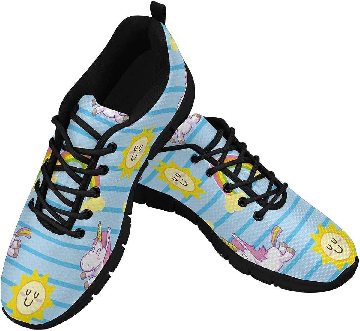 InterestPrint Unicorn Rainbow Sun Women Walking Shoes Comfortable Lightweight Work Casual Travel Sneakers