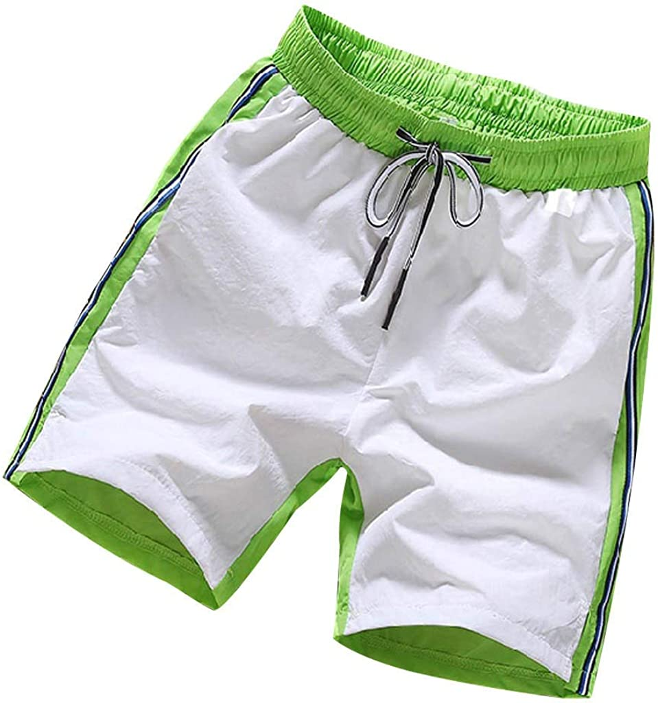 MODOQO Mens Summer Shorts Big and Tall Pure Color Cotton Multi-Pocket Training Shorts