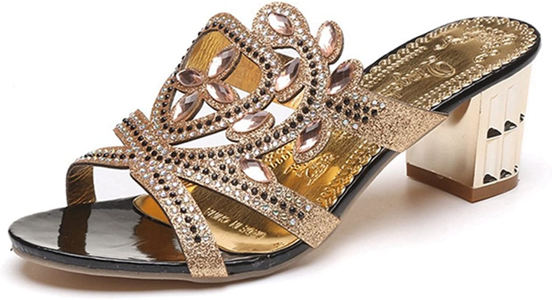 GIY Womens Rhienstone Chunky Heels Evening Wedding Dress Slide Sandal Slip On Party Dress Wedge Sandals
