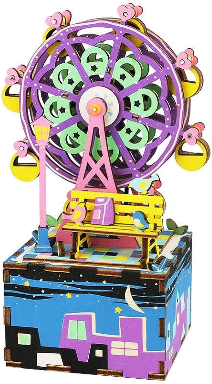 nueva marca HLDUYIN Rompecabezas de Madera 3D Caja de música de de de Bricolaje Kit para Construir Coloridos Kits de artesanía de Madera giratoria Mejor cumpleaños para Mujeres y niñas  soporte minorista mayorista