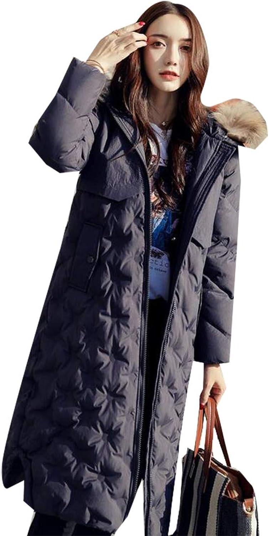 Esast Women ZipOff Long Down Alternative Puffer Coat Plush Lined Fur Trim Hood