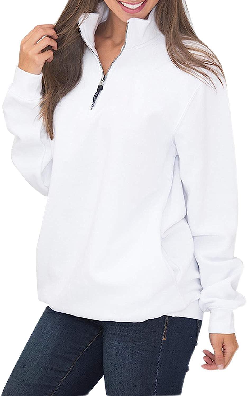 Malaven Womens New item Quarter Max 83% OFF Zip Sweatshirts Swea Pullover Sleeve Long
