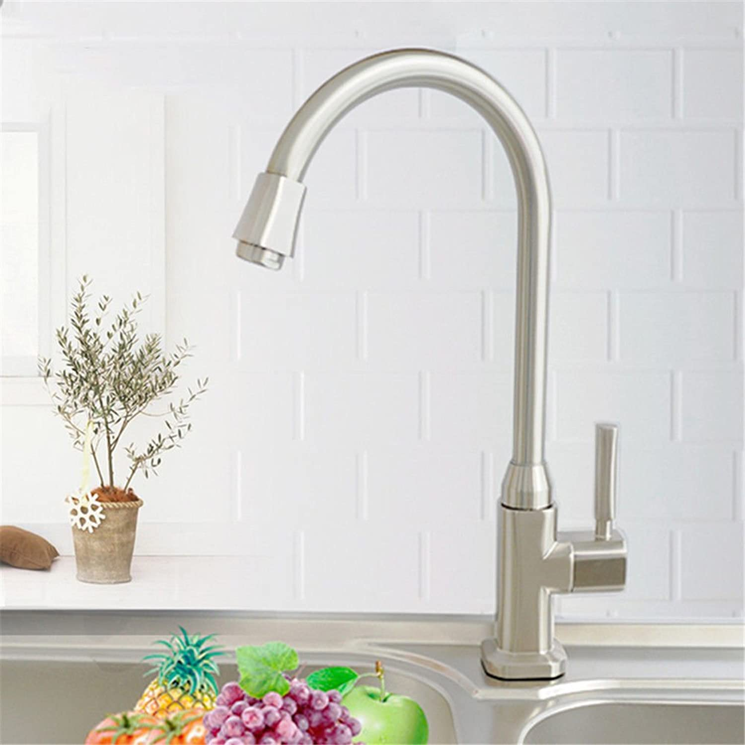 ETERNAL QUALITY Bathroom Sink Basin Tap Brass Mixer Tap Washroom Mixer Faucet The Kitchen single cold tap full copper spool brushed to redate the high bend Faucet Kitchen