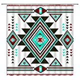 Sunhe Southwestern Shower Curtain Native American Abstract Retro Geometric Vintage Tribal Navajo Aztec Ethnic Mesas Colorful Bohemia Triangular Zigzags Fabric Bathroom Decor Curtain with Hooks