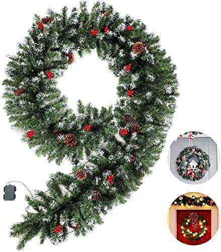 amsike 9 Foot by 15.7 Inch 70 LED Flocked Christmas Garland Battery Operated with Clear Lights,Prelit Christmas Garland Greenery Outdoor Lighted Pine Garland, Artificial Garland Wreath Decoration