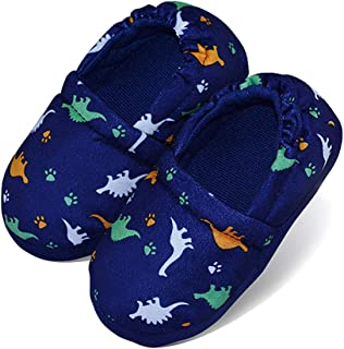 LA PLAGE Anti Slip Little Kid Slippers for Boys Winter Warm Indoor Slip-on