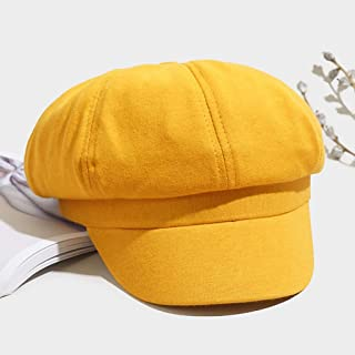 TXOZ Ladies Hat, Sunshade Solid Color Hat, Go Out Travel Windproof Dustproof Wild Lady Beret Hat (Color : Yellow)