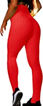 VNVNE Women's High Waist Ruched Butt Lifting Slimming Leggings Textured Stretchy Skinny Yoga Pants Thights