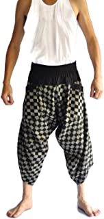 Siam Trendy STD Men's Japanese Style Pants One Size Black Chess Design Thai Fisherman Pants Men Yoga Trousers Free Size Black and White