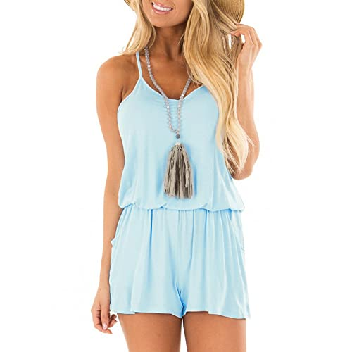 53adae7881c9 REORIA Womens Summer Loose V Neck Spaghetti Strap Short Jumpsuit Rompers