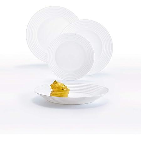 ARC Luminarc Harena Service de Table en Verre Opale Extra résistant pour 6 Personnes, 18 pièces, 100% hygiénique, Blanc