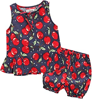 Fairy Baby Toddlers Baby Girls Summer Cherry Outfit Clothes Set 2Pcs Tops and Shorts Set