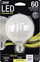 Feit Electric BPG2560/F/827/LED Decorative Frost Glass Filament LED Dimmable 60W Equivalent G25 Globe Light Bulb, Soft White