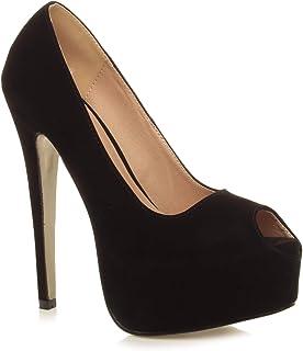 Ajvani Women's Ladies High Heel Platform Peep Toe Court Shoes Pumps Size