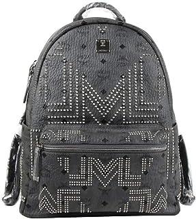 MCM Men's Grey Stark 40 Coated Canvas Medium Studded Backpack MMK8AVE55EP001