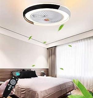 N / A Ventilador Creativo Ventilador de Techo contemporáneo con LED Sala de Control Regulable de luz e Hijos Estancia de Forma remota en Calma Beleuchtun, Negro,Negro
