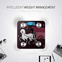 Bluetooth Body Fat Scale White Horse Drawn Chinese Carriage Smart Wireless Scale with LCD Display Measuring Body Weight Bmi and Health Digital Scal