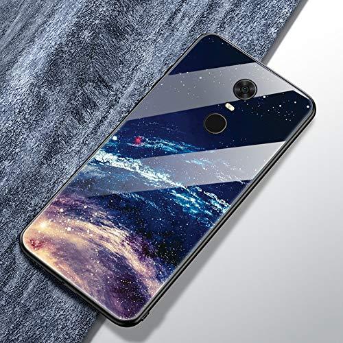 Jinghaush Kompatibel mit Xiaomi Redmi 5 Plus Hülle Handyhülle Farbe Gemalt Gehärtetes Glas Back Cover + Weich TPU Silikon Rand Kratzfest Schutzhülle Ultradünn Case Sternenhimmel
