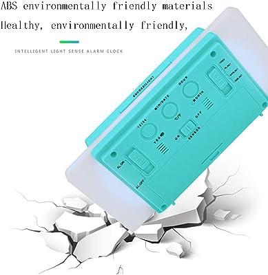 ZJWZ LED Reloj Despertador Multifunción Snooze Electrónico Pantalla Digital Inteligente Retroiluminación Despertador Doble Termómetro Silencioso Despertador