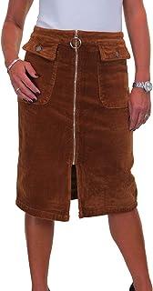 icecoolfashion Gonna Stile Jeans in Velluto A Coste da Donna con Zip Frontale Aperta 40-46