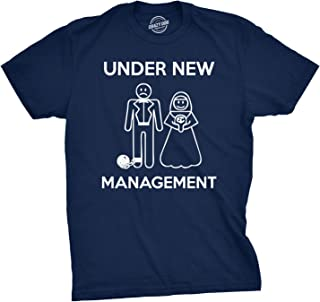 Mens Under New Management Funny Wedding Bachelor Party Novelty Tee for Guys