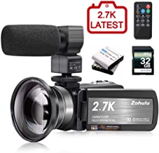 Video Camera 2.7K Camcorder ZOHULU Vlog Camera for YouTube, HD Digital Camera with 30X Digital Zoom and Night Vision, Video Recorder with Microphone, Wide Lens (32GB SD Card, 2 Batteries Included)