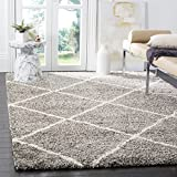 Safavieh Hudson Shag Collection SGH281B Diamond Trellis 2-inch Thick Area Rug, 11' x 15', Grey/Ivory