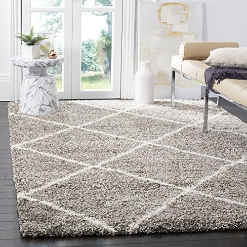 Safavieh Hudson Shag Collection SGH281B Grey and Ivory Moroccan...