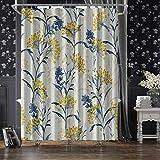 JOYMIN Duschvorhänge aus Stoff mit gelben Beeren & Blättern, für Badezimmer, wasserdicht, mit 12 Haken, 183 x 183 cm, Hellbeige